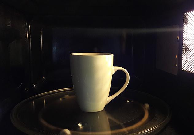 Tea inside microwave