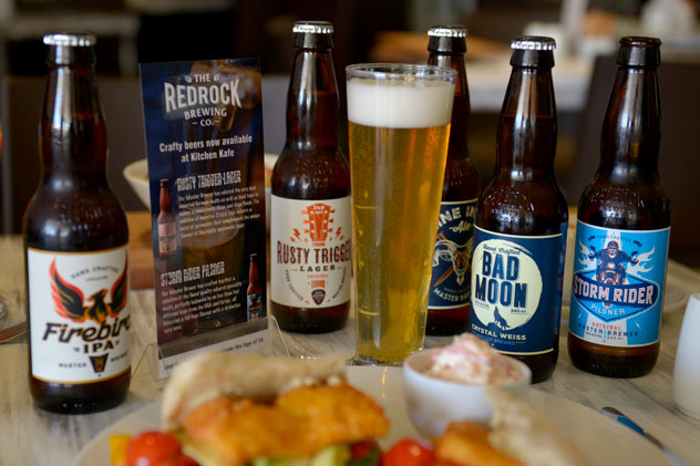 Red Rock craft beer selection served at Kitchen Kafe. Photo supplied.