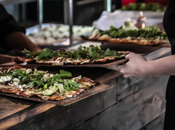 Pizzas on the pass at Café Blanc de Noir. Photo supplied.