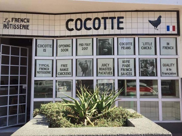 The entrance to Cocotta, la French Rôtisserie on Regent Road, Sea Point. Photo supplied.