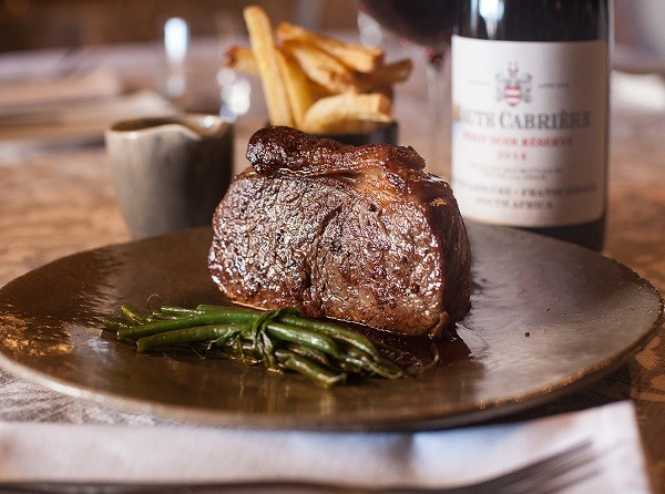 A hearty steak at Haute Cabriere. Photo supplied.