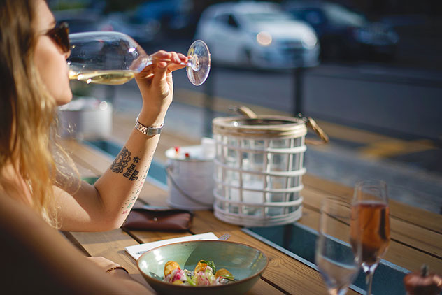 A plate of seafood can be enjoyed at outside tables, which offer prime people-watching opportunities on Bree Street