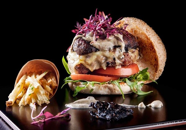 A colourful, hearty burger at Cafe Hemingways. Photo supplied.
