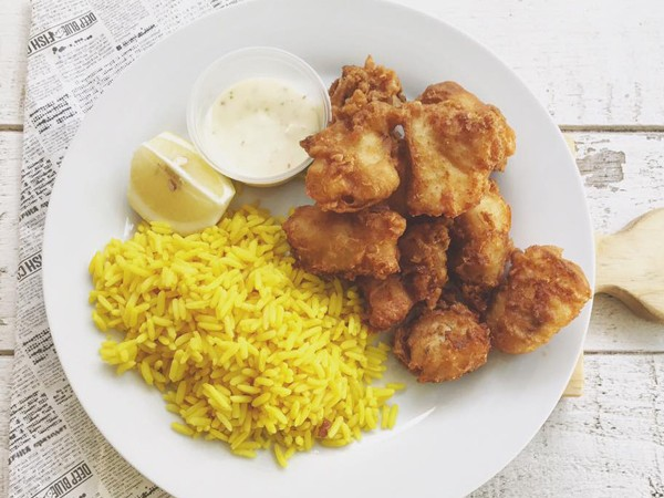 Beer battered hake nuggets with rice at Deep Blue Fish Co. Photo supplied.