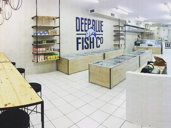 The clean, ocean-themed interior at Deep Blue Fish Co. Photo supplied.