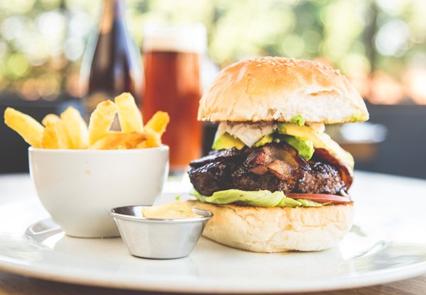 The bacon, avo and feta burger at Unity. Photo supplied.