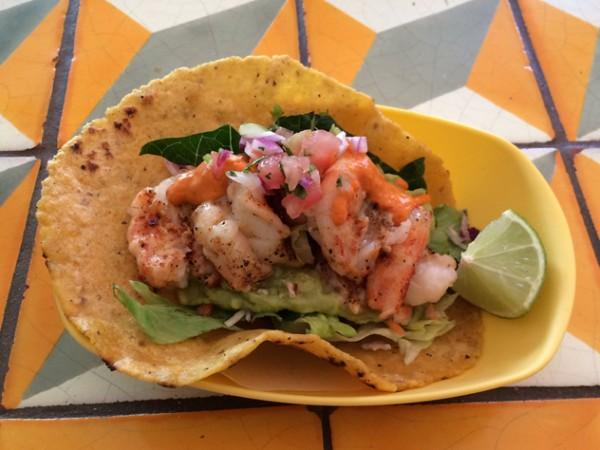 A prawn taco at Baha Taco. Photo supplied.