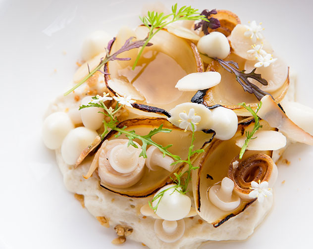 Onion soubise with chicken, beer-braised onions, almond, and thyme flowers – one of the dishes served at Camphors at Vergelegen. Photo by Jan Ras.