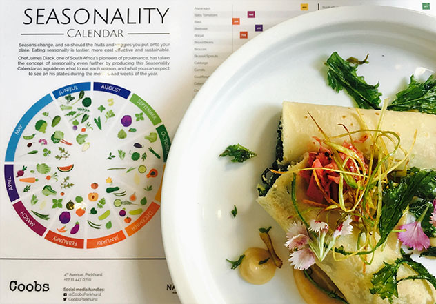 Chef James Diack has also created a handy seasonality chart to help diners make sustainable eating choices. Photo supplied.