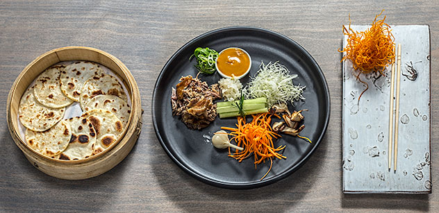 The Peking duck pancakes with pickled garlic and a star anise and carrot dressing. Photo supplied.