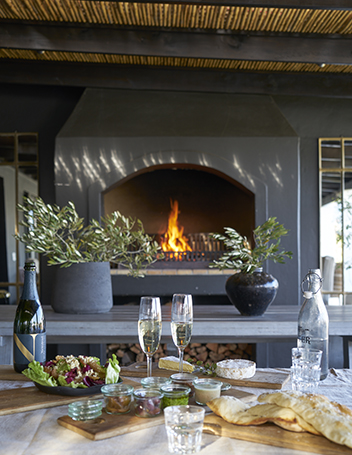 Newstead Wines fireplace and tapas