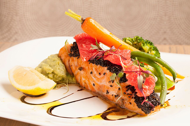 One of the salmon dishes at Cafe del Sol Botanico