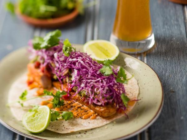 Spiced tuna taco with pico de gallo at Tuk Tuk Microbrewery. Photo supplied.