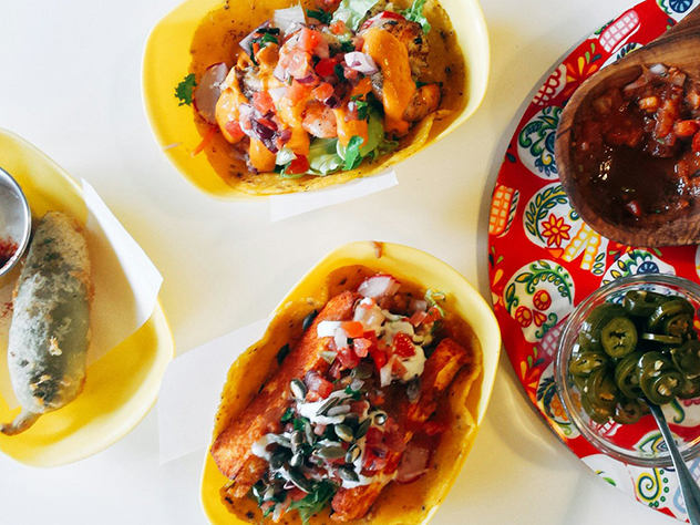 Tacos and chilli poppers at Baha Taco