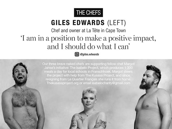 The naked chefs: Three SA chefs get their kit off for charity and Marie Claire's Naked Issue