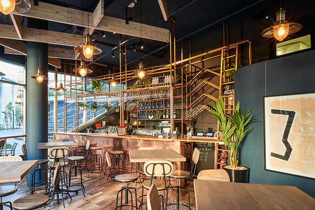 The stylish bar area at Wishbone. Photo supplied.