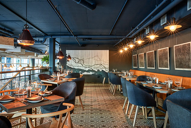 Navy blue and lots of wood sets the scene for Sandton's stylish, modern mood. Photo supplied.