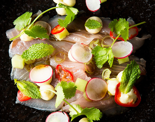 Yellowtail with avocado, radish and ponzu at Chefs Warehouse. Photo by Jan Ras.