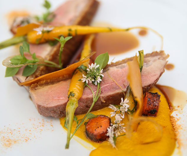 Midlands duck with homegrown carrot at Hartford House. Photo by Jan Ras.