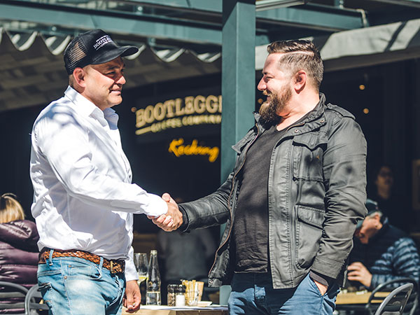 Bootlegger founder Pieter Bloem with chef Eric Bulpitt. Photo supplied.