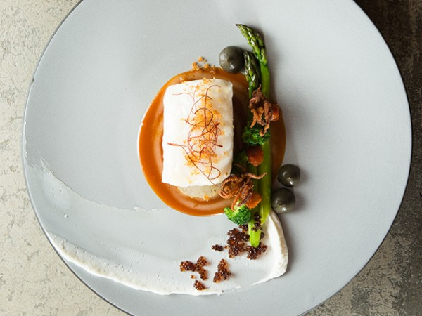 Terroir_Poached Kingklip miso lime sauce green asparagus, fried ginger soy pearls and yoghurt