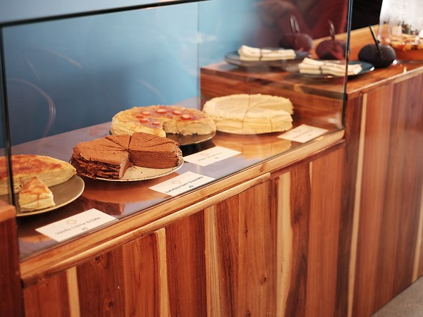 The counter of crêpe cakes at Localli. Photo supplied.