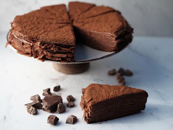 The 85% dark chocolate crêpe cake at Localli. Photo supplied.
