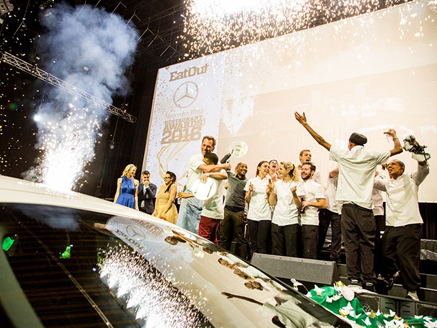 Confetti canons fire as Restaurant of the Year is announced at the 2016 event. Photo by Shavan Rahim.
