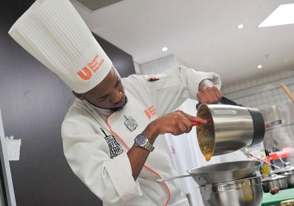 Chef Terror Lekopa at work. Photo supplied.