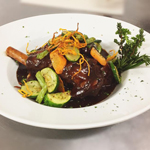 lamb shank prepared and served at Browns of Beverley Hills
