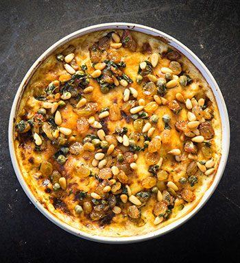 luke dale robert's cauliflower mac and cheese with sultana salsa