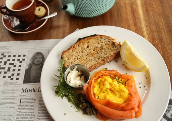 Scrambled eggs and salmon at Bellevue Café. Photo supplied.