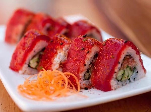 red sushi prepared and served at Bluefin Restaurant