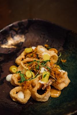 Crispy calamari with atchar at The Pot Luck Club