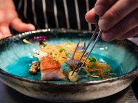 The Test Kitchen - crisp pork belly, wood-roasted sweet potato and orange dashi