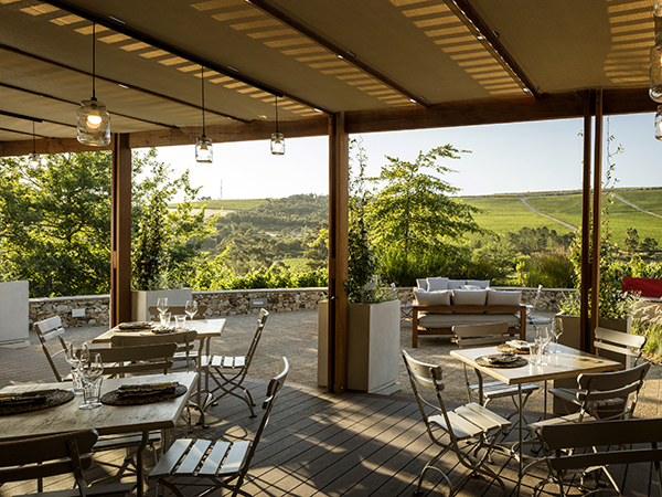 The outside seating with a view of the Winelands in Stellenbosch.