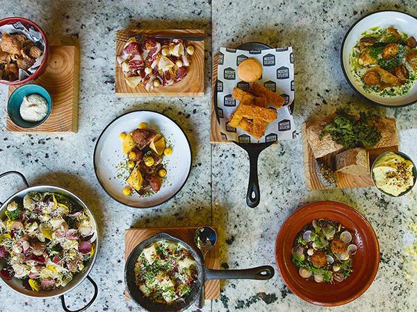 A family-style spread from Spek en Bone in Stellenbosch.