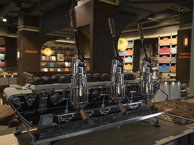 The custom-built Spirit Idrocompresso espresso machine at the new Coco Safar store in Sea Point