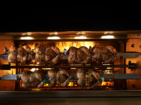 Chickens on the rotisserie at Rosto