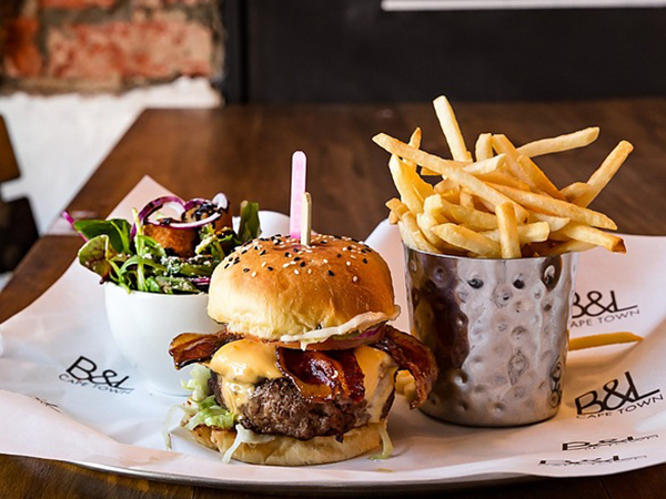 A scrumptious burger meal from Burger & Lobster on Bree Street.