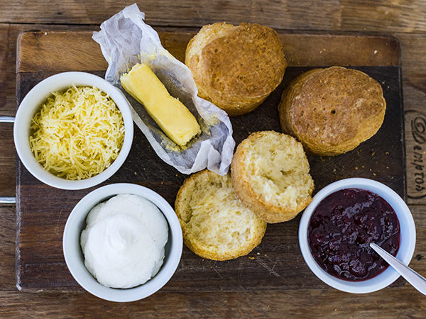 Enjoy sweet and savoury scones from The Deli at Lanzerac for breakfast.