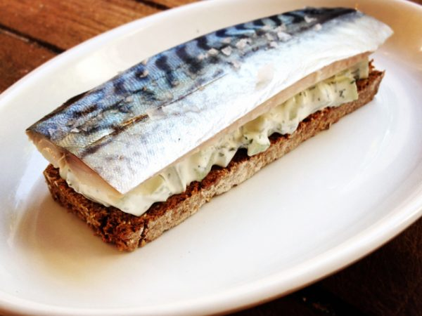 A mackerel open sandwich likely to be found on the Farro menu if you're lucky
