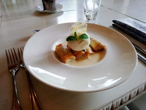 Towerbosch's malva pudding spring rolls