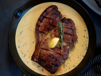 A Butcher Bock steak in butter.