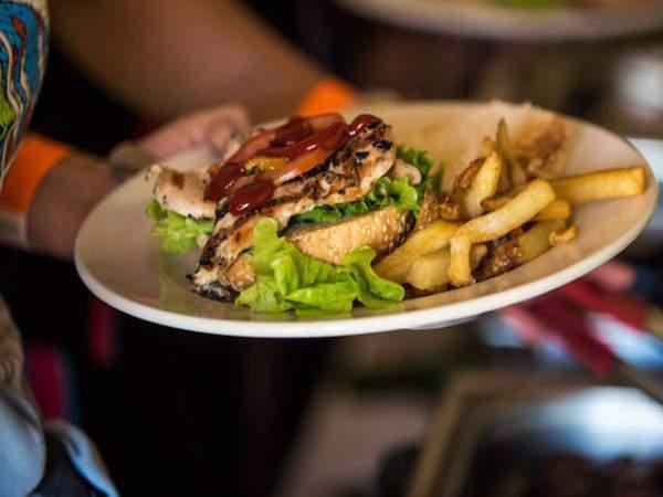 A burger at Dirtopia Café