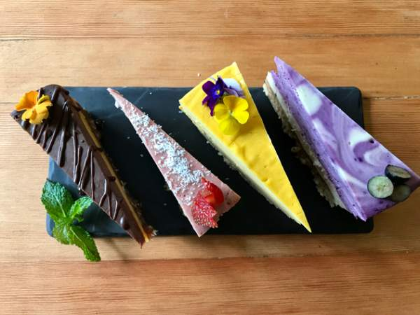 The quartet of cheesecakes at Leafy Greens
