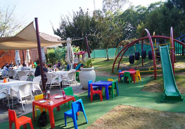 Let the kids get out all their energy at Panettone Café's outside play area before they head inside to make their own pizza and dessert
