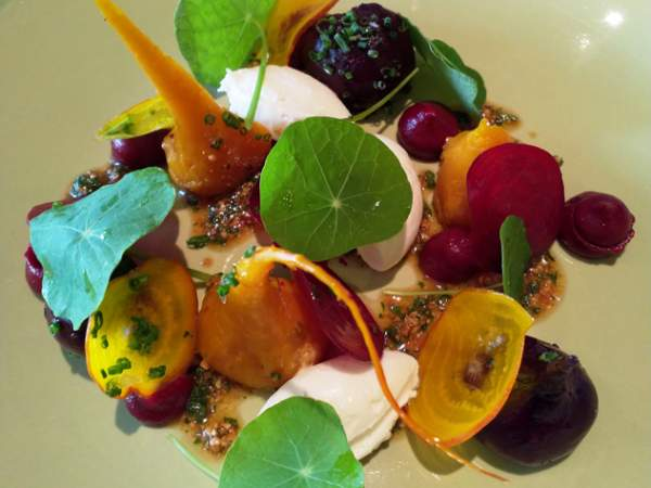 Roasted beets with whipped goat's cheese and almond pesto