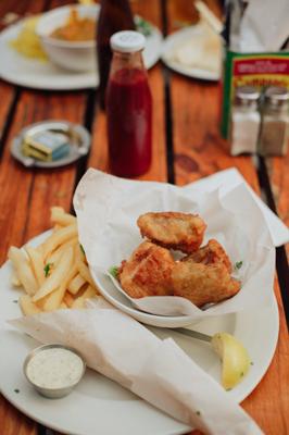 The beer-battered fish and chips at Bella Casa