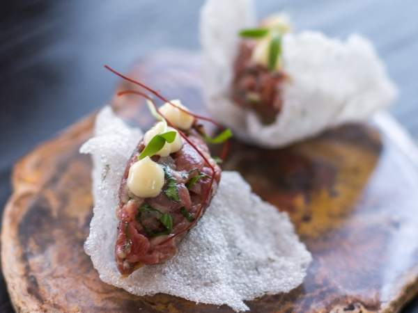 The Wagyu beef tartare on rice crackers